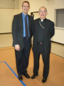A slightly blurry pic of me with Bishop Peter Sartain of the Diocese of Joliet