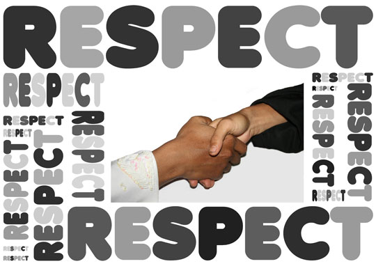 word respect around a handshake