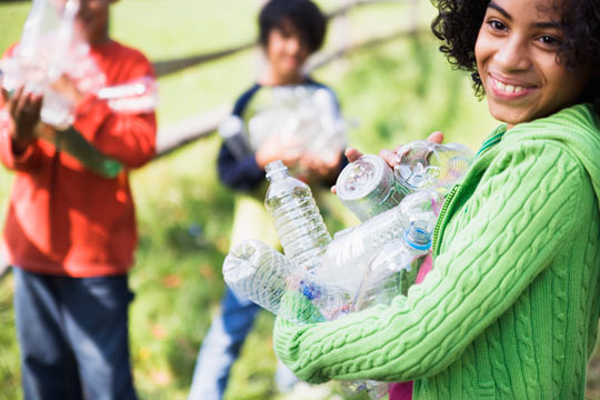 young people on service day with water bottles