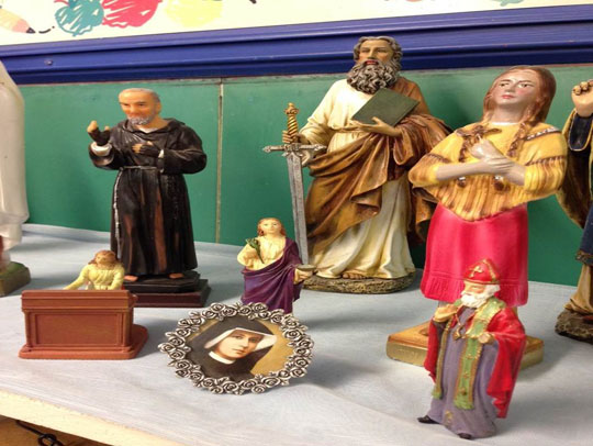 St. Faustina and other saints in the classroom