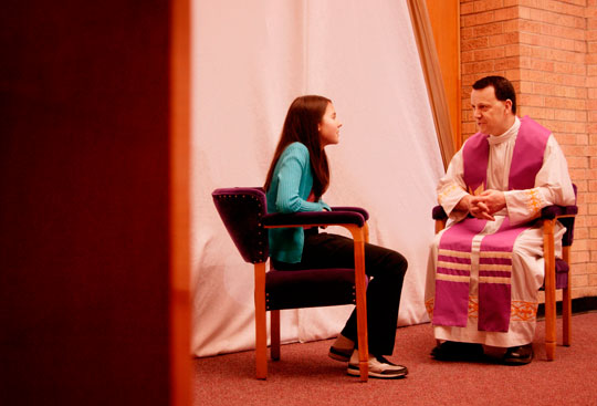young girl celebrating the Sacrament of Reconciliation