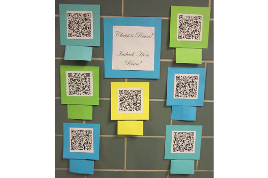 Easter QR codes activity wall