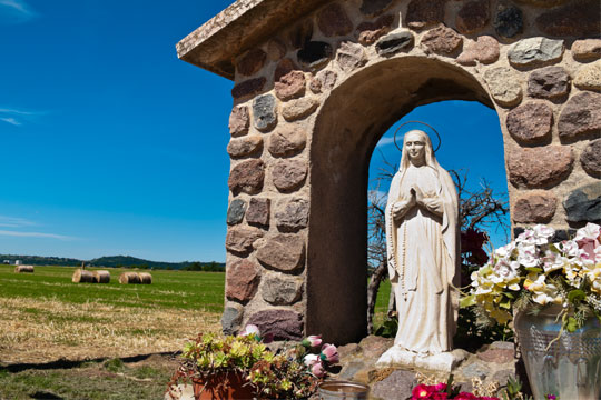 Mary statue in outdoor grotto