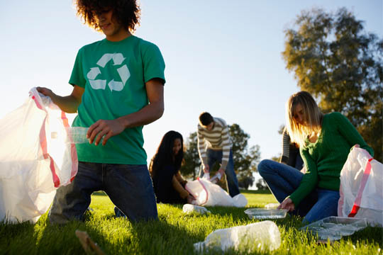 teens helping at park cleanup day