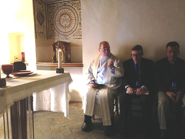 Fr. Paul Campbell, our publisher, leading us at Mass in Ignatius' own chapel in a house where Ignatius lived for 17 years next to the Gesu Church in Rome.