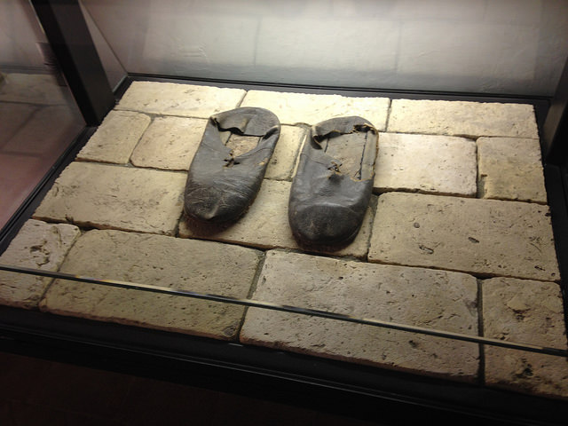 "A pair of shoes that belonged to Ignatius, on display in the house he lived in for 17 years next to the Gesu Church in Rome. Whose ""shoes"" do you revere/honor? Who is someone that walked in faith before you that you seek to emulate?"