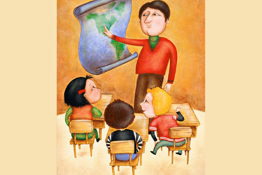 teacher in classroom (illustration)