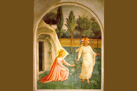"""Noli me tangere"" fresco by Fra Angelico - public domain via Wikipedia"