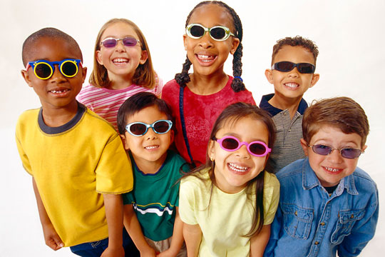 children wearing sunglasses