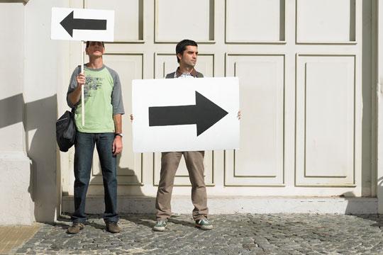 choice - men holding arrows