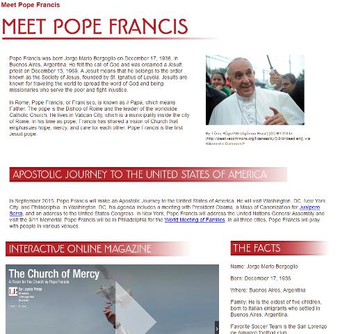 screen shot of Meet Pope Francis webpage