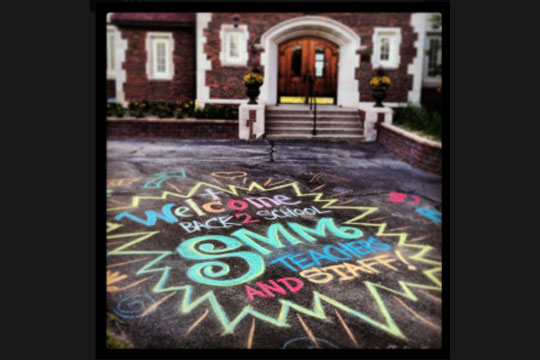 welcome back chalk art