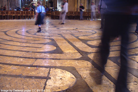 Labyrinth at Chartres Cathedral - image by Daderot under CC BY-SA 3.0