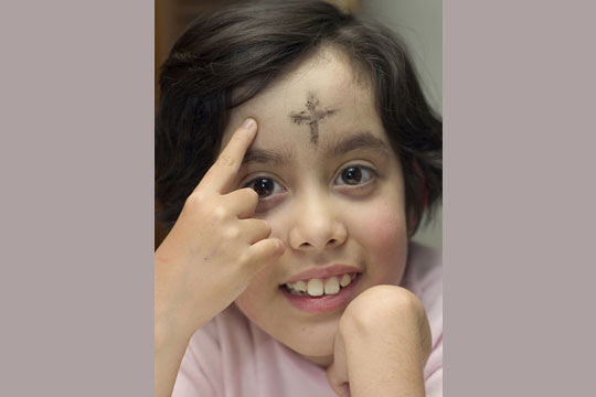 Ash Wednesday - girl with ashes
