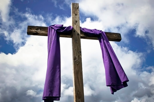 Lent - cross with purple cloth