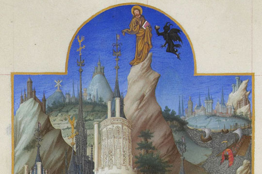 "Limbourg brothers, ""The Temptation of Christ"" - see the Arts & Faith: Lent video on this"