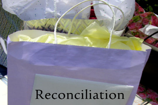gift bag with word Reconciliation - gift of Reconciliation