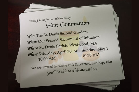 First Communion invitation - details