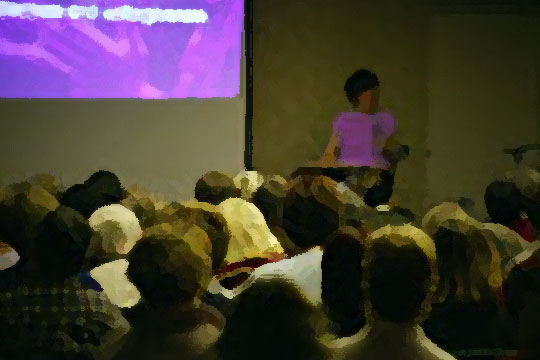 woman leading group meeting