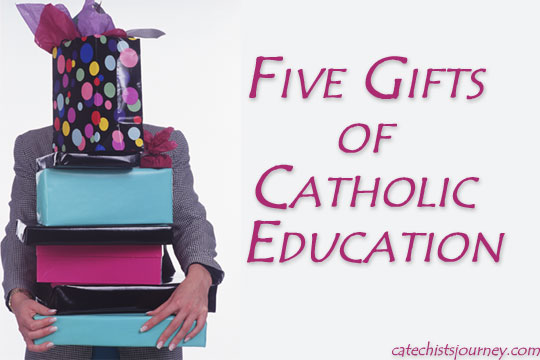 gifts of Catholic education - woman carrying presents