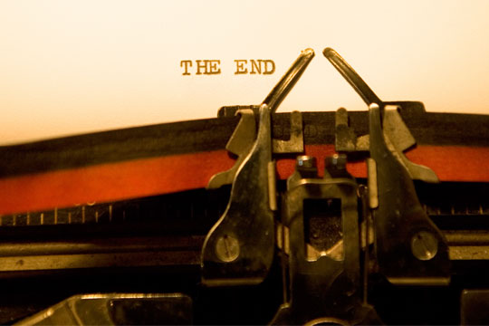 """The End"" typed on typewriter"