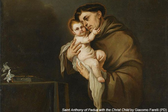 Saint Anthony of Padua with the Christ Child by Giacomo Farelli - public domain via Wikipedia