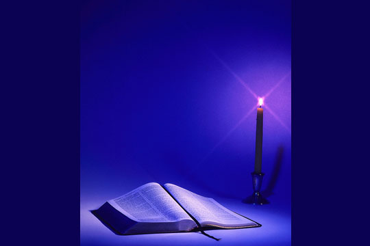 Bible and candle - prayer table