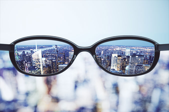 glasses viewing skyline