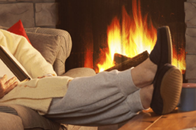 cozy by fireplace