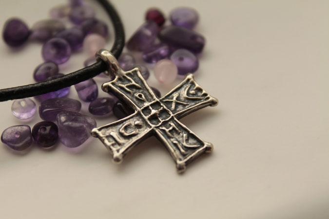 cross pendant and stones