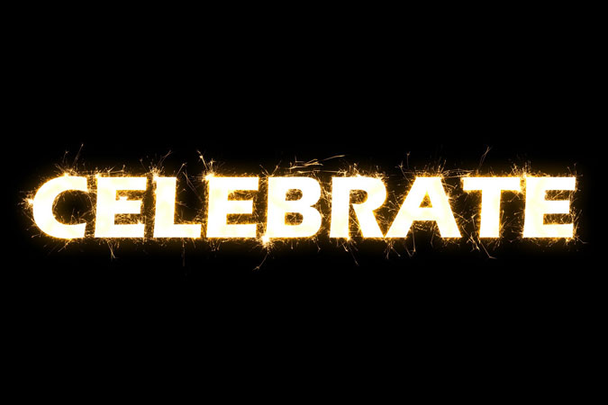 celebrate - the word on a black background