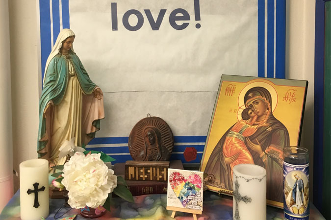 classroom prayer table