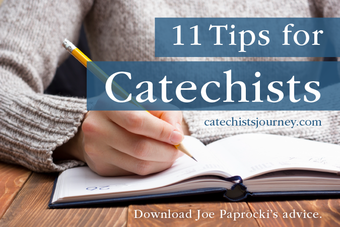 11 Tips for Catechists - catechist at desk working on planning classes