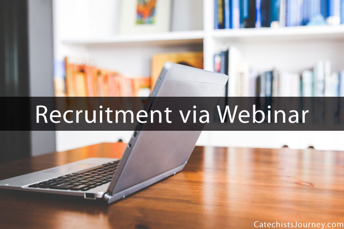 laptop in home office with words: Recruitment Webinar