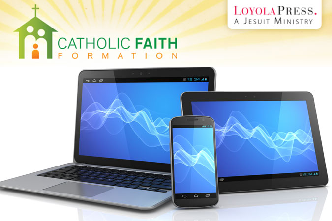 laptop, tablet, and mobile device - connect with Catholic Faith Formation