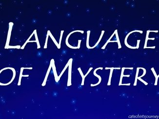 words language of mystery on background of stars