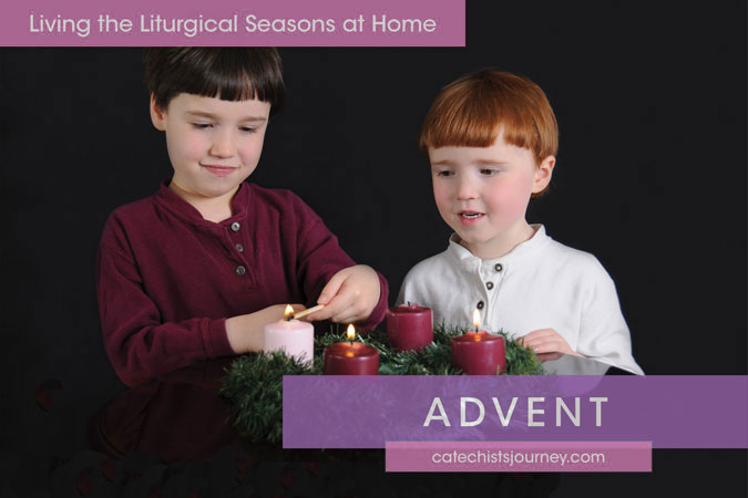 Living the Liturgical Seasons at Home - Advent - children at Advent wreath