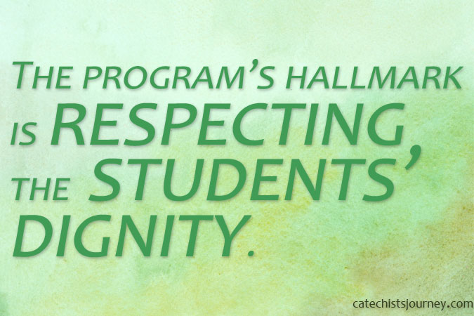 """The program's hallmark is respecting the students' dignity."" - quote from story on green background"