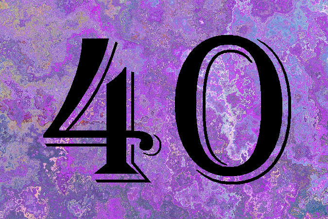 number 40 on purple textured background