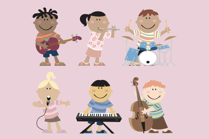 musical children with their instruments