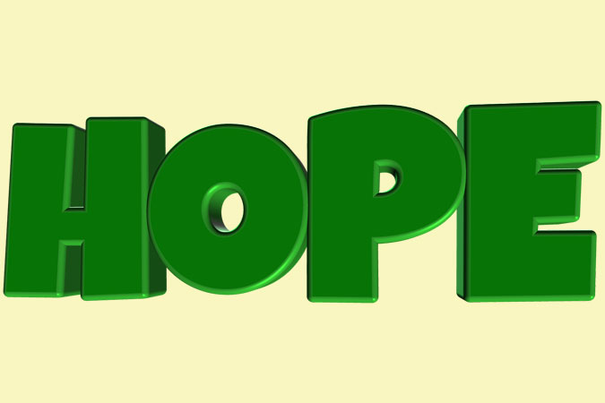 the word hope in green letters