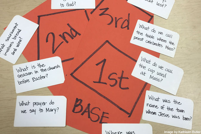 baseball bases and cards - image by Kathleen Butler