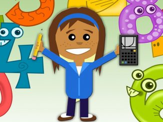 girl with calculator surrounded by numbers