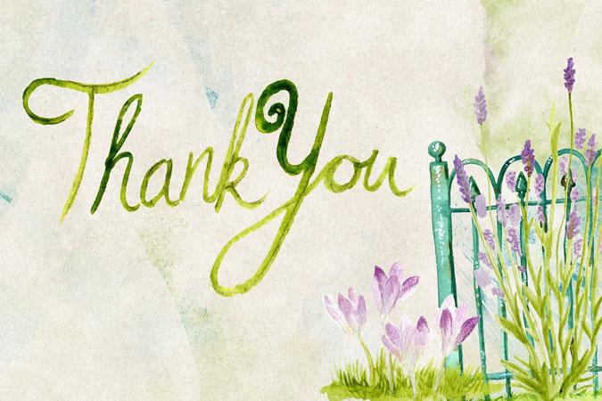Thank you - words written on a garden scene