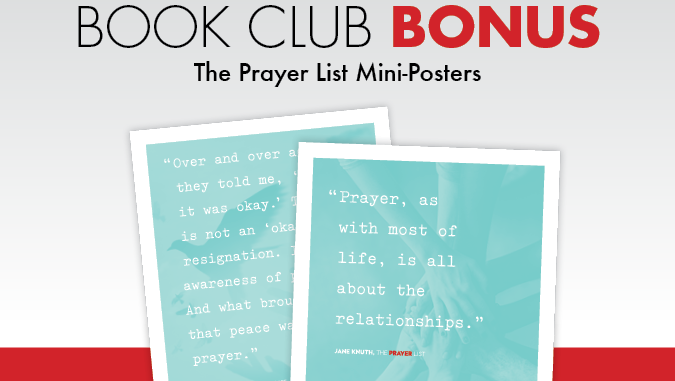 The Prayer List - mini-posters with quotes from Jane Knuth book