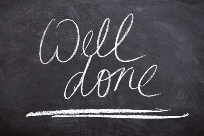 well done - note on chalkboard