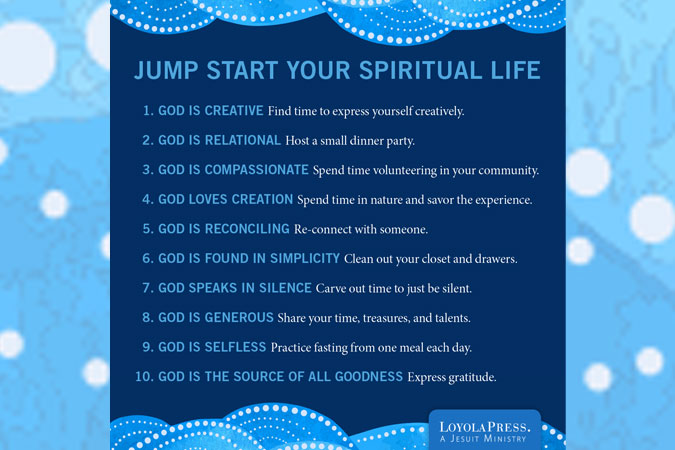 Jump Start Your Spiritual Life - words on blue setting