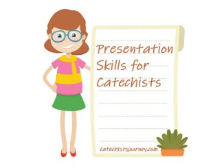 "illustrated image of teacher next to board that reads ""Presentation Skills for Catechists"""