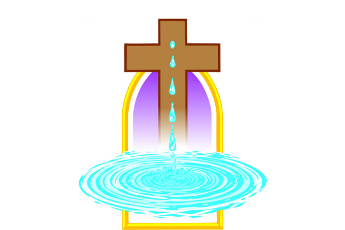Baptism - water and cross