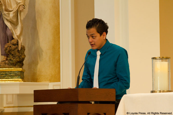 young man serving as lector
